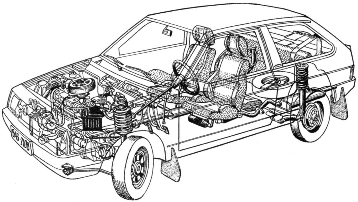 Компоновка переднеприводного автомобиля ВАЗ-2108 «Спутник»