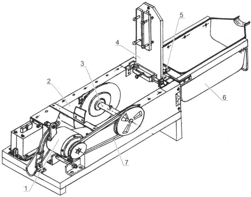Fig. 3. Scheme of work unit stone cutting circular saw (cover folded, saddle raised)