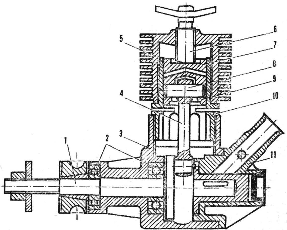 Рис. 1. Конструкция компрессионного двигателя с рабочим объемом 3,0 см3