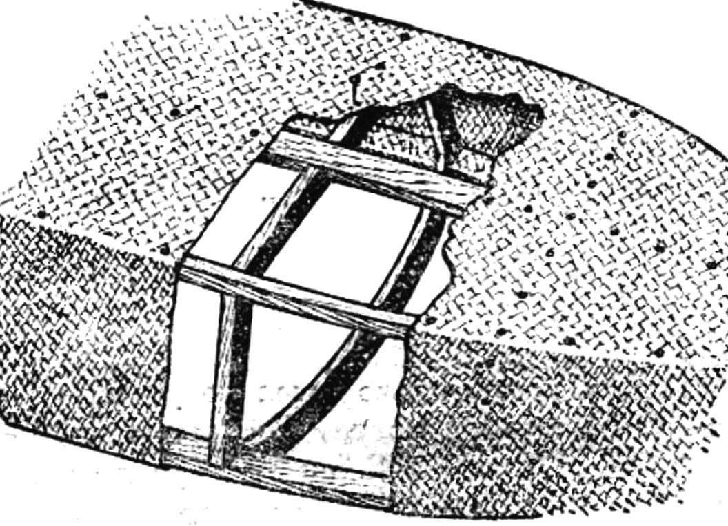Рис. 2. Закрепление ткани на каркасе.