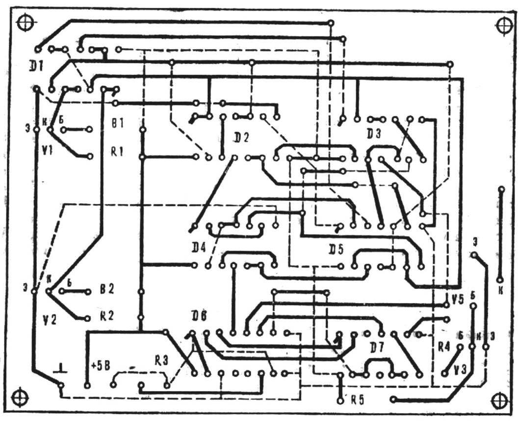 Fig. 4. Circuit Board of digital control device, with the layout of the parts (M1:1).