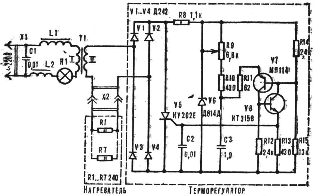 Рис. 1. Схема электроносогрейки с терморегулятором.