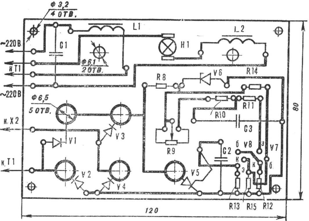 Рис. 3. Монтажная плата терморегулятора со схемой расположения деталей.