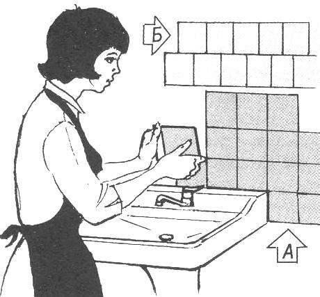 Рис. 1. Способы укладки кафельной плитки: А—«сетью»; Б—«вязкой»