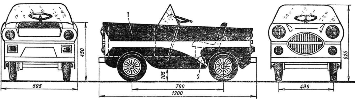 General view of electric vehicle Alenushka: 1 — battery, 2 — electric motor.