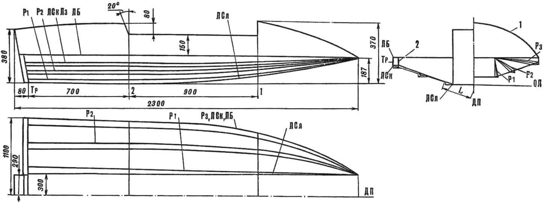 Рис. 2. Теоретический чертеж гидрокарта (см. также таблицу).