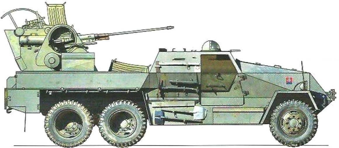 В словацкой армии часть машин Praga PLDvK vz. 53/59 Jesterka была окрашена в серый цвет. Внутренний интерьер бронированного отделения - бежевый, двери - хаки. Зенитная установка, часто эксплуатировавшаяся без шасси, имела отличающуюся окраску