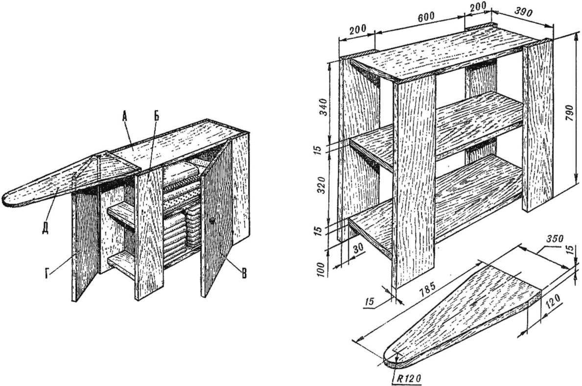 Рис. 1. Комбинированный стол с гладильной доской