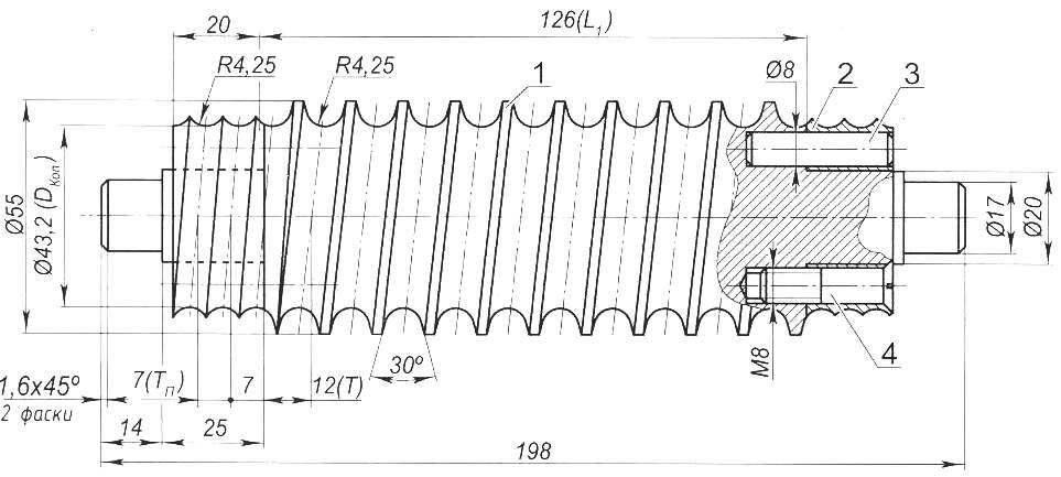 Копир, обеспечивающий навивку пружин с рабочими витками в центре и поджатыми — в начале и в конце пружины