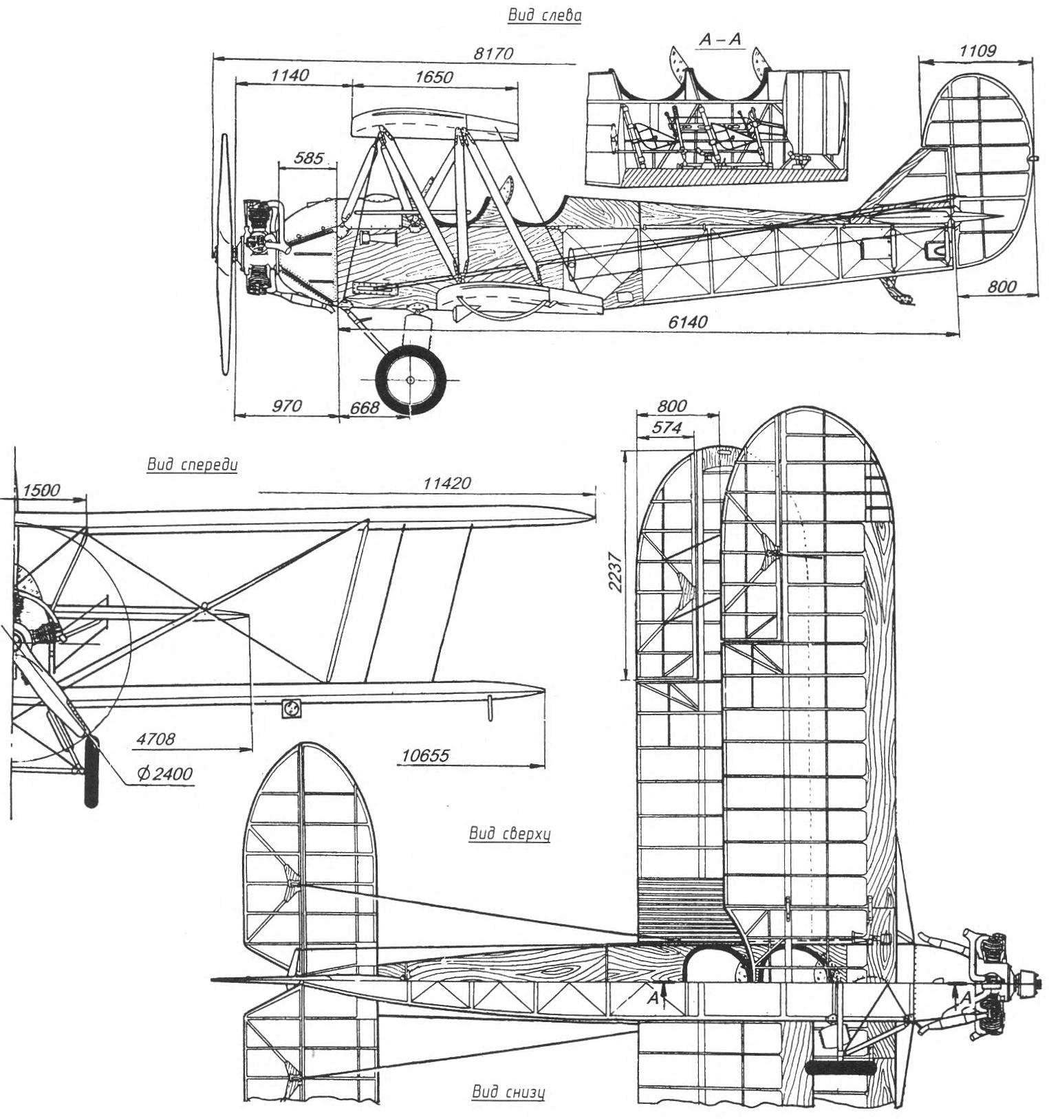 Prototype RC elektroleta training biplane Po-2 construction.N. Polikarpov