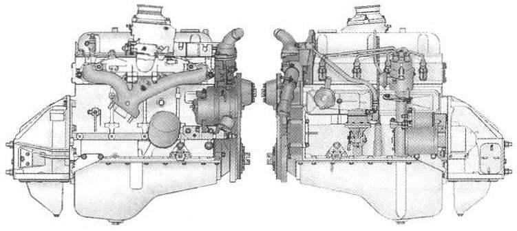 Двигатель автомобиля УАЗ-3151 (виды справа и слева)