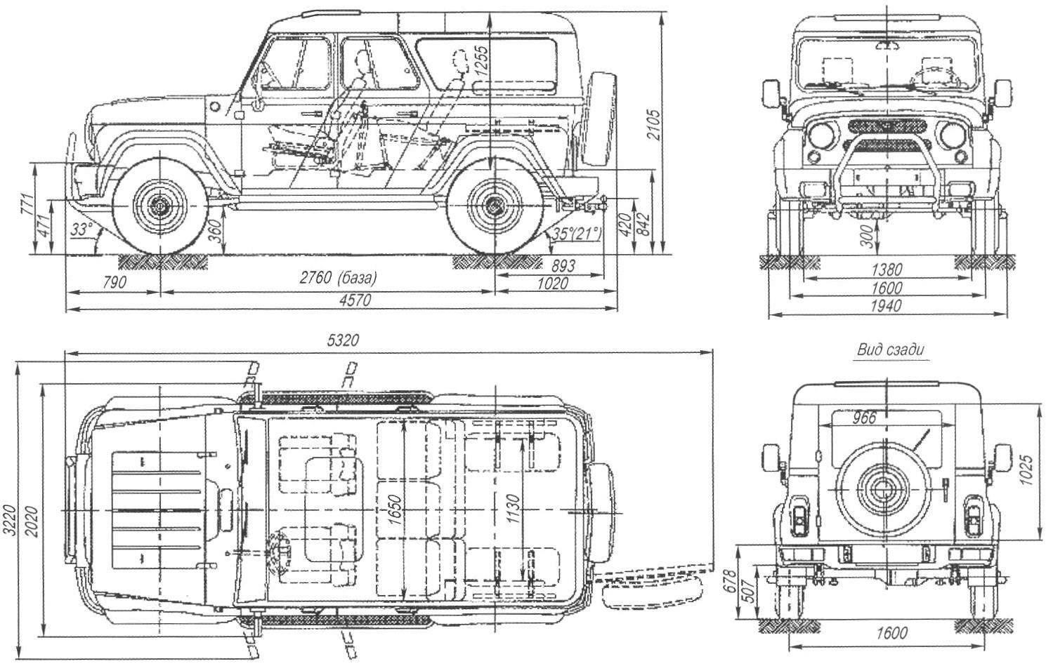 Основные размеры комфортабельного джипа-внедорожника UAZ HUNTER