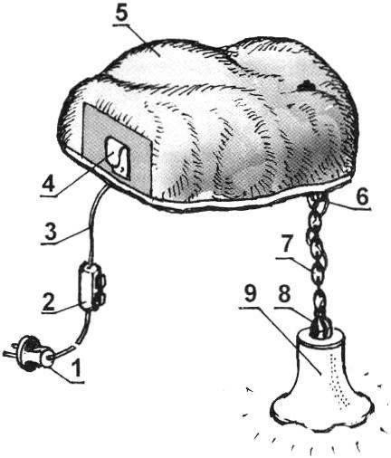 Электрическая схема светильника из трутовика