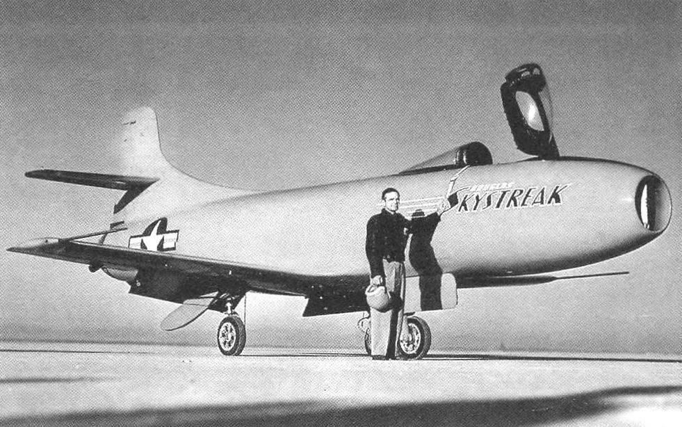 Pilot Eugene P. May, the aircraft D-558-I