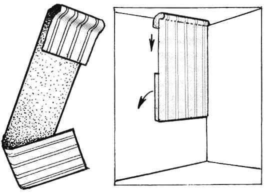 Рис.3. Обычно для оклейки стен нужно два человека: чтобы поднести намазанное клеем полотнище, поднять его к потолку, придерживая свободный низ, пока не выровняется вертикаль и не прижмется к стене верхний край обоев.