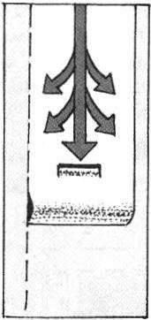 Рис.4. Прижатое полотнище разравнивается на стене мягкой ветошью или щёткой, движениями сверху вниз и по сторонам.