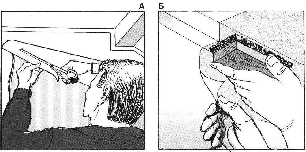 Рис.6. Если граница стены и потолка ровная, то верхняя часть обоев выравнивается непосредственно по ней.