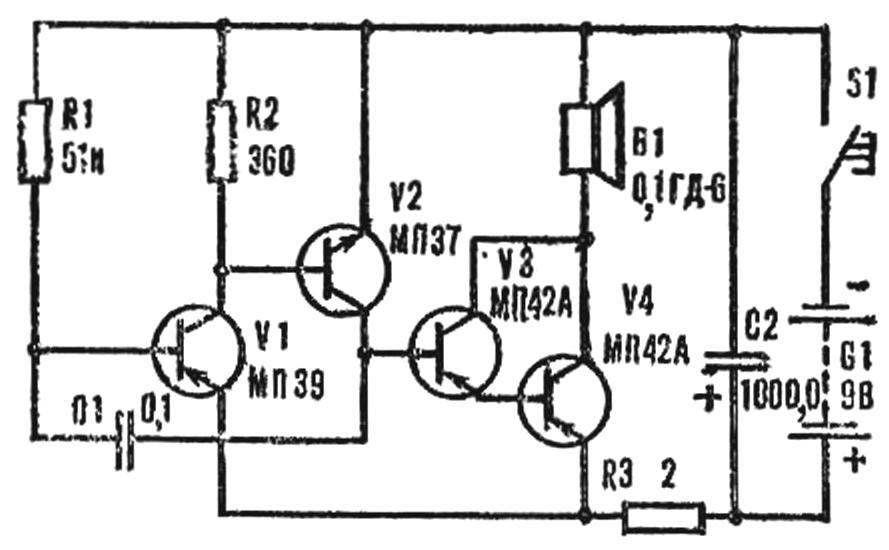 схема электронного звонка.