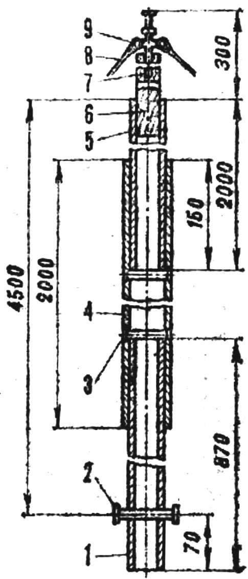 Рис. 5. Конструкция мачтытримарана «Стриж-4,5»