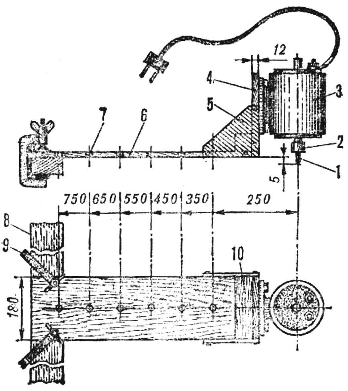 (на схеме показан вариант оснащения приспособления для фрезеровки прямых пазов с использованием деревянной рейки)