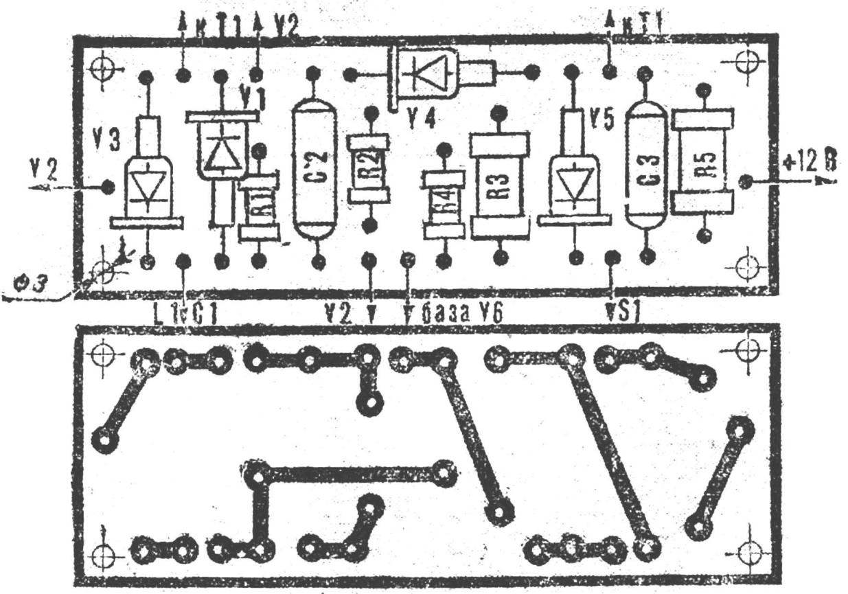 Fig. 3. Circuit Board with the layout of the parts (M1:1).