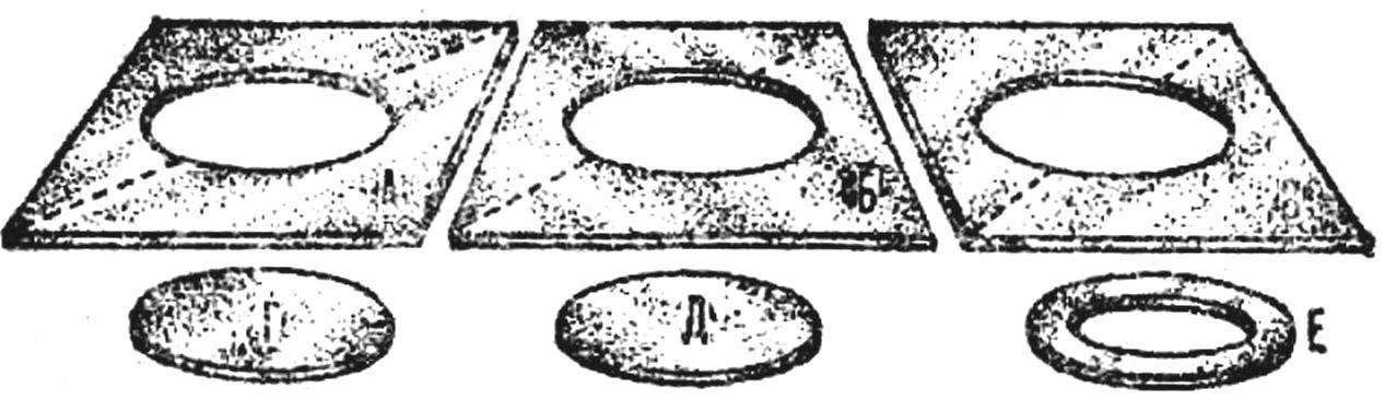 Рис. 3. Комплект деталей для светильника: А, Б и В — квадратные заготовки с центральными отверстиями; Г и Д — диски, Е — диск с отверстием.