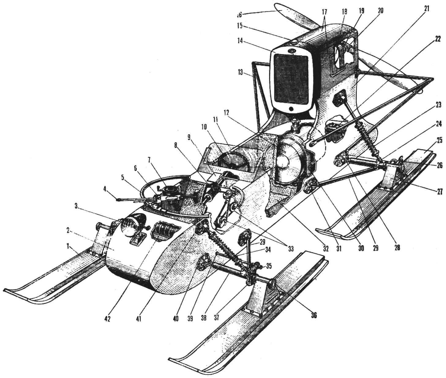 Рис. 2. Компоновка аэросаней РФ-8-ГАЗ-98