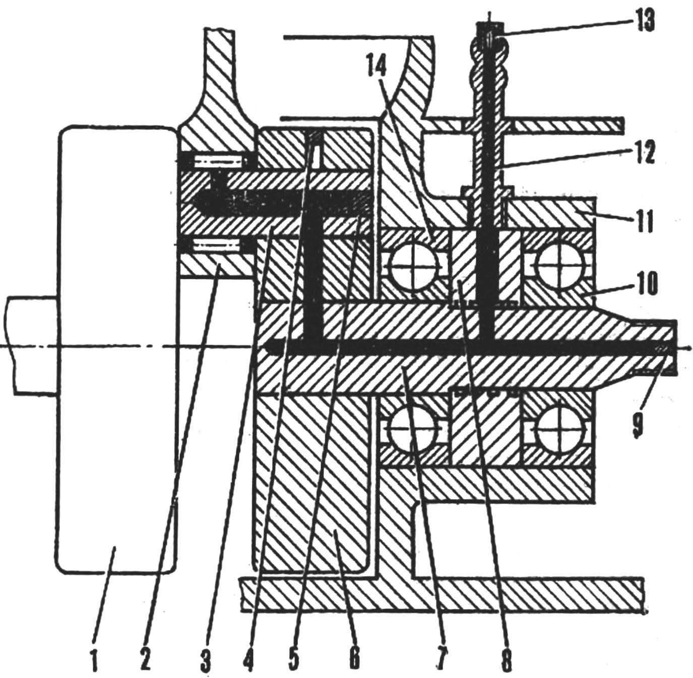 Схема модернизированного шатунно-кривошипного узла