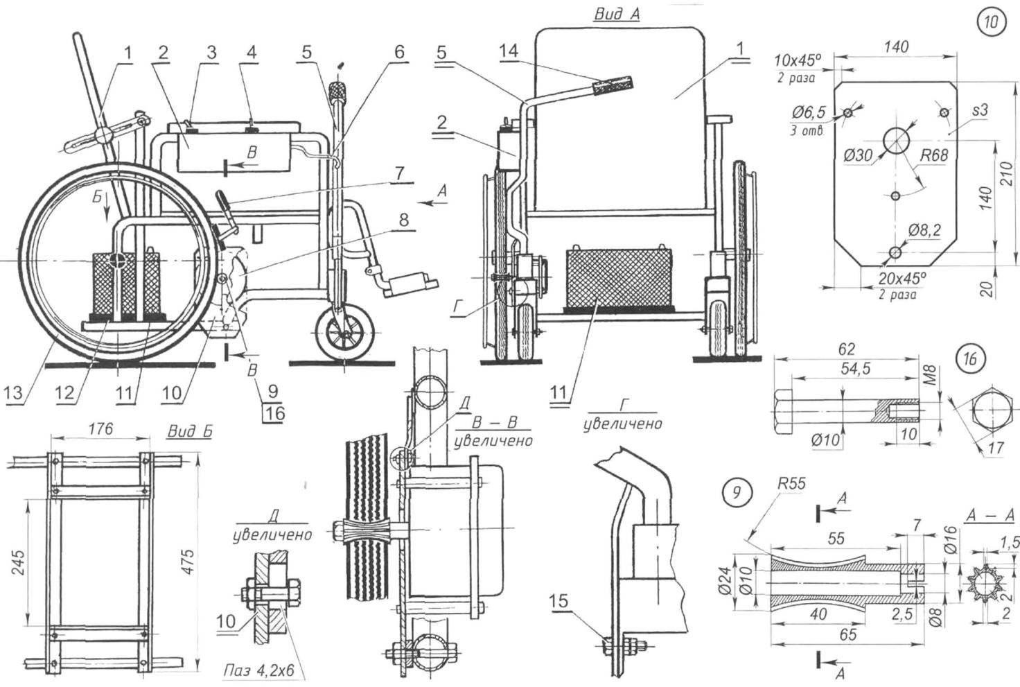 Инвалидное кресло-коляска модели «400», оборудованное блоком электропривода «Элетран-2» (на виде «Б» аккумулятор условно не показан)