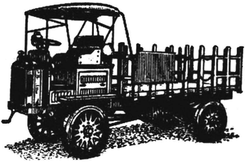 Первый вездеходный грузовик фирмы «Фор-Уилл-Драйв» (США, 1908-1910 гг.).