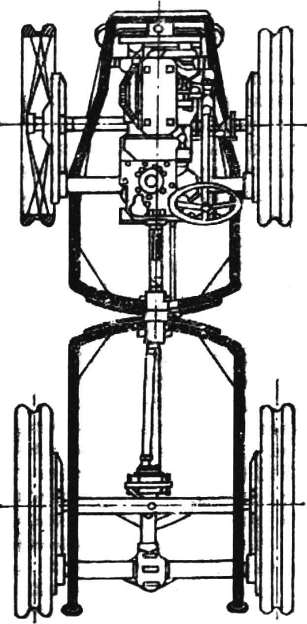 Схема устройства шарнирно-сочлененного вездехода («Павези-Фиат», Италия).