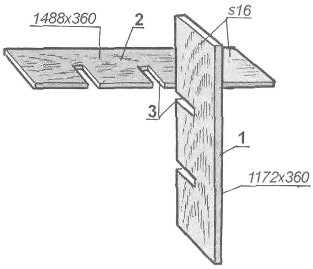 Вариант соединения внутренних деталей составной этажерки