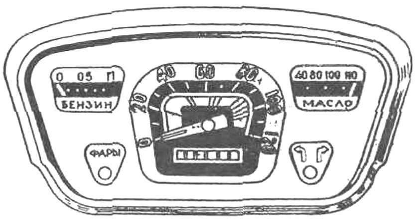 Приборный щиток автомобиля ЗАЗ-965 имел необходимый минимум указателей: спидометр со счётчиком пройденного пути, указатели у ровня топлива и температуры масла, повторитель «мигалок» поворота и контрольную лампу работы фар