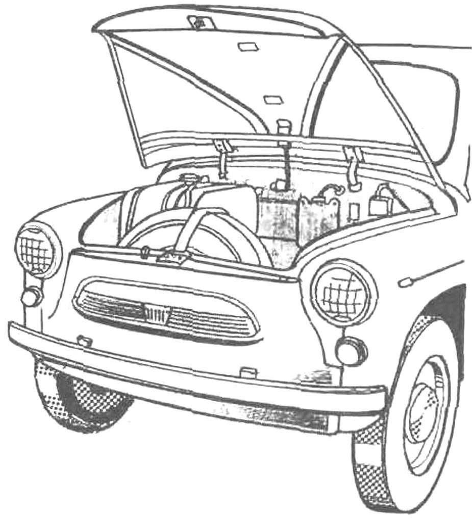 Багажник «Запорожца»—в нём размещались запасное колесо, топливный бак и аккумулятор, при этом места для полезного груза оставалось совсем немного