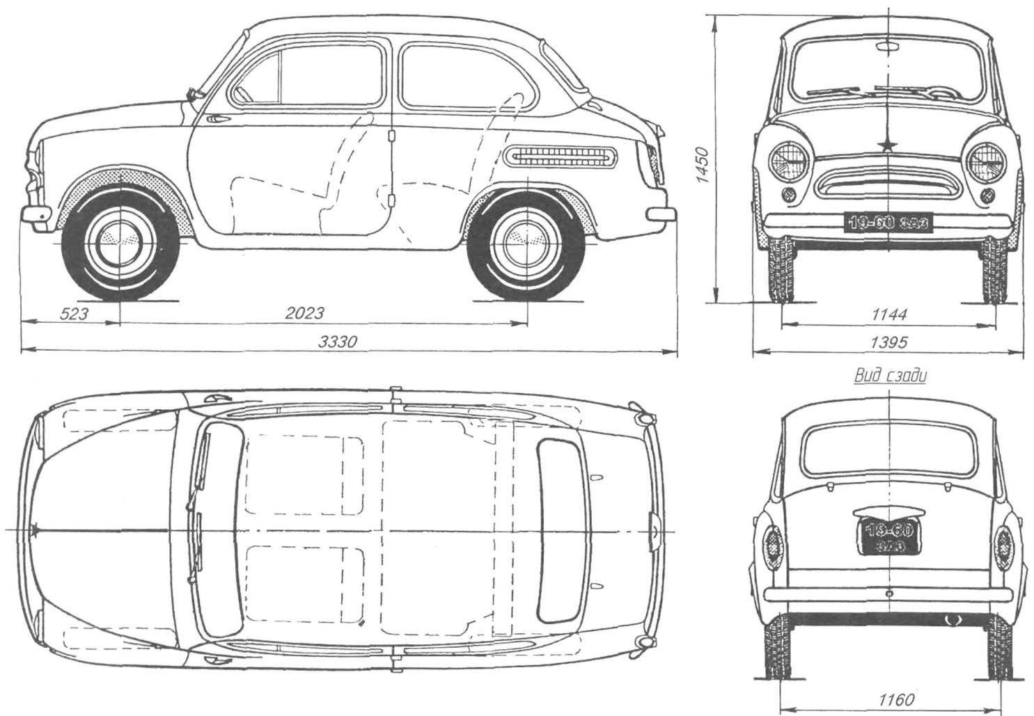 Геометрическая схема автомобиля ЗАЗ-965А