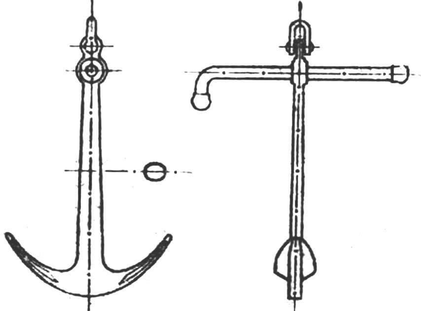 Рис. 2. Чертеж современного адмиралтейского якоря. Такие якоря изготавливаются весом от 50 до 2000 кг.