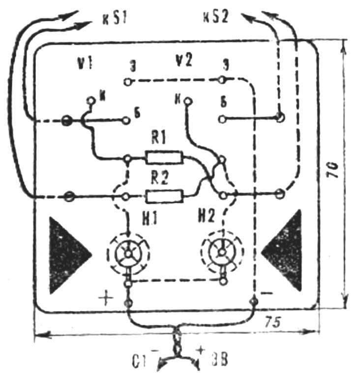 Рис. 2 Монтажная схема первого варианта игры.