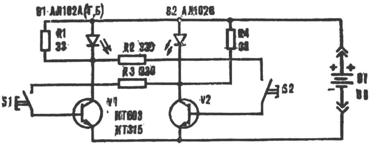 Рис. 4. Схема игры с применением фотодиодов.