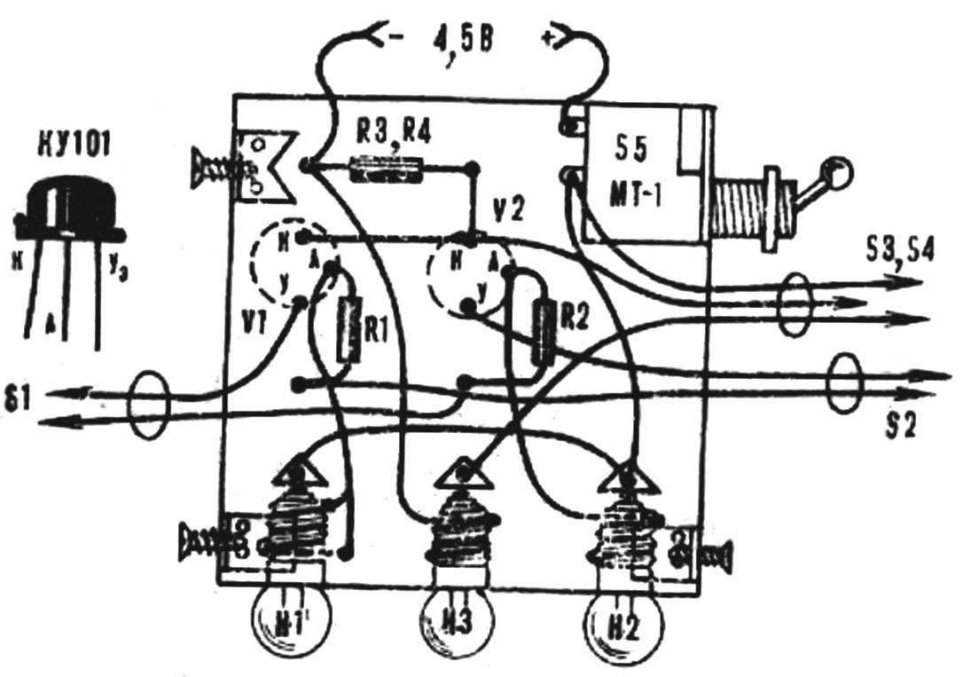 Fig. 8. Wiring diagram of a third variant of the game.
