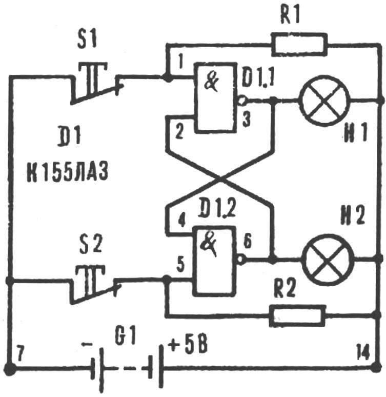 Рис. 9. RS-триггер на ТТЛ.