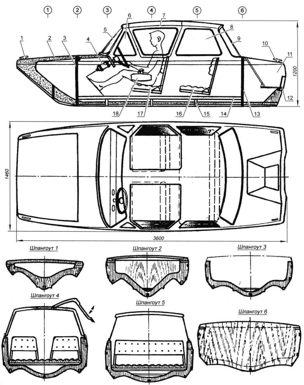 Четырёхместный каютный катер с обводами типа «бостонский китобой»