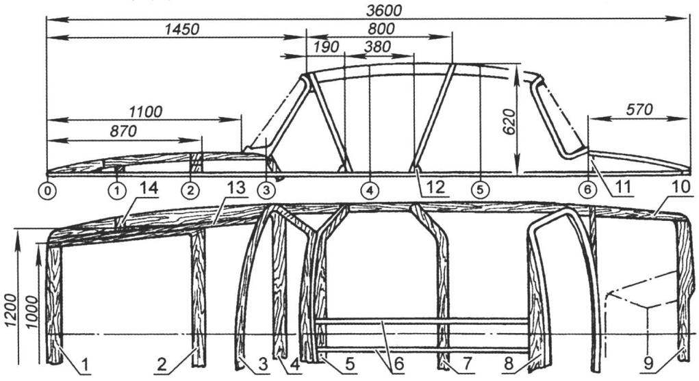 Каркас верхней части корпуса катера