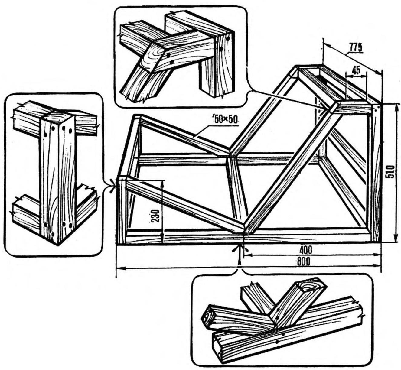 Первый этап изготовления кресла — сборка каркаса. Соединение отдельных элементов — с помощью деревянных шпилек.