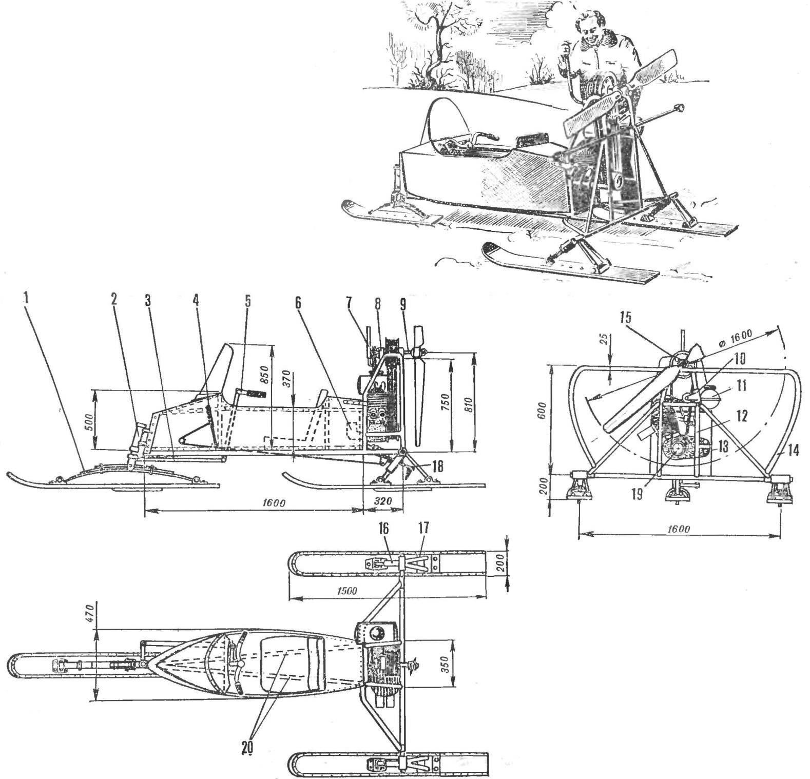 Рис. 2. Аэросани ПМ-3