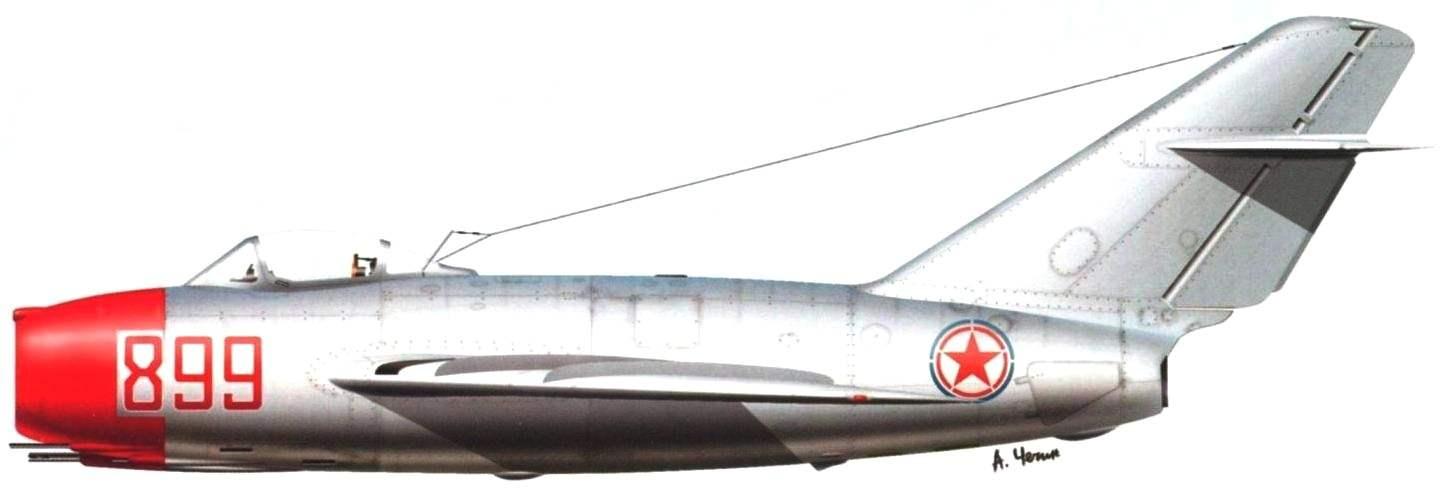 Истребитель МиГ-15 полковника Е.Г. Пепеляева (19 побед) из 196-го истребительного авиационного полка. Декабрь 1951 года