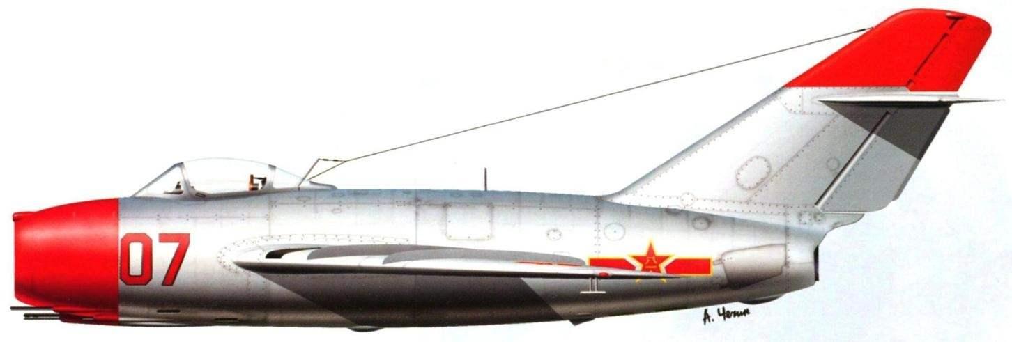 Истребитель МиГ-15 бис Героя Советского Союза подполковника В.И. Колядина (5 побед) командира 28-го гвардейского истребительного авиационного полка. Весна 1951 года