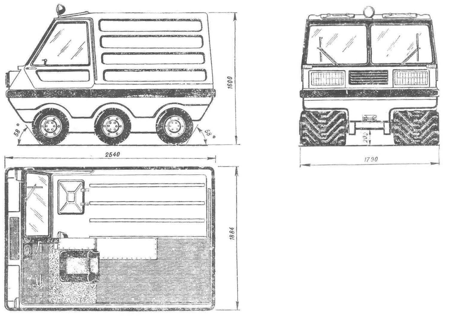 Рис. 1. Легкая машина высокой проходимости, разработанная в лаборатории транспортных систем студенческого проектно-конструкторского бюро МВТУ имени Н. Э. Баумана (вариант с кузовом).