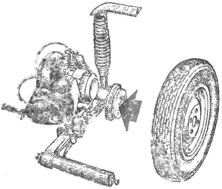 Рис. 1. Сердце микроавтомобиля — блок «мотор—колесо» от мотороллера «Вятка».
