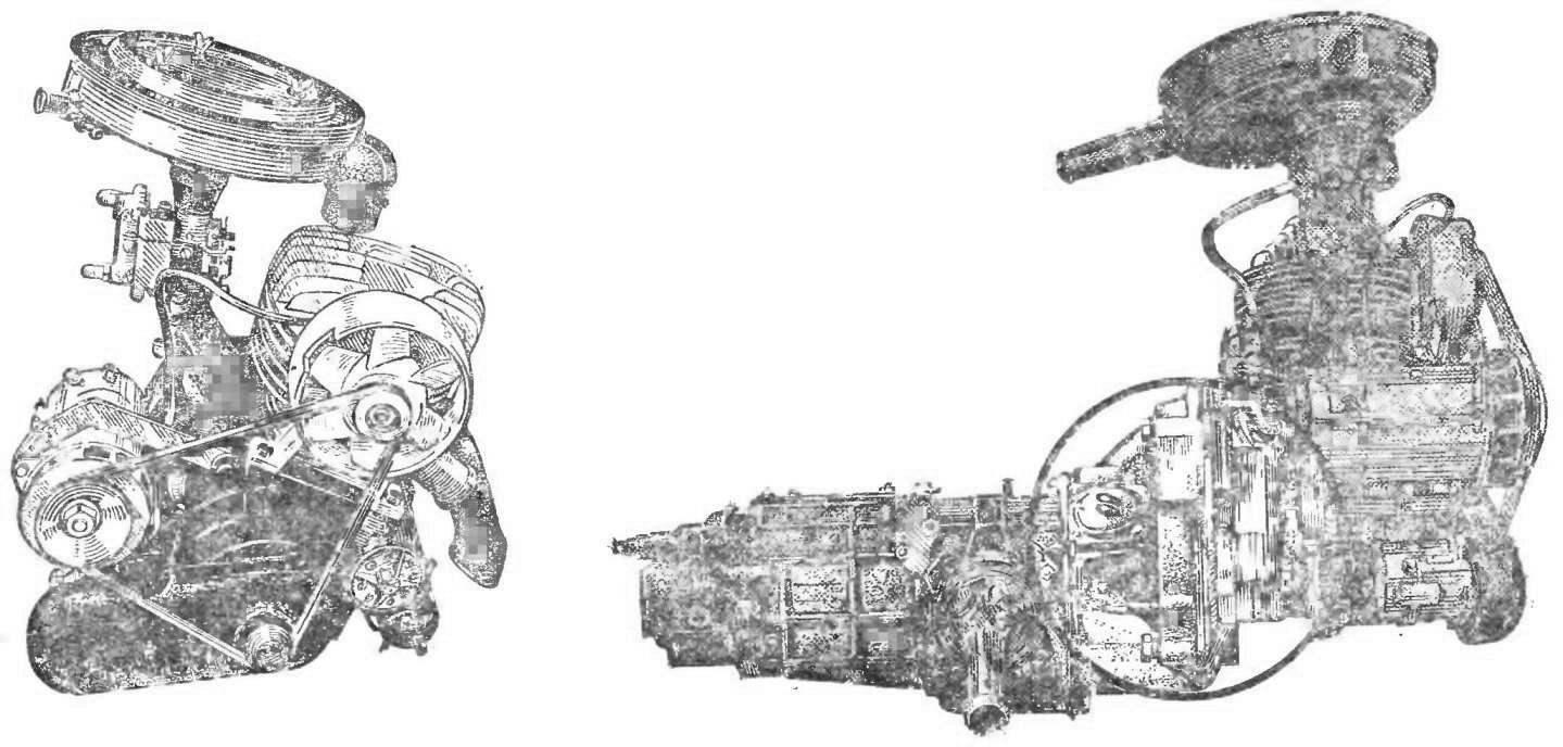 Рис. 1. Общий вид двигателя «Иж-Планета» в блоке с коробкой от автомобиля «Запорожец».