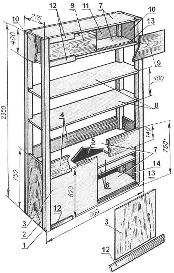 Шкаф-перегородка (габаритные размеры даны для ориентировки, остальные по месту)
